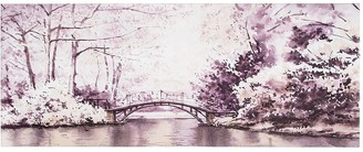 Graham & Brown Watercolour Forest Bridge Canvas