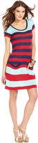 Kensie Dress, Short-Sleeve Scoop-Neck Striped