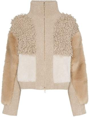 Stella McCartney patchwork faux fur bomber jacket