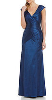 Kay Unger Fuax-Wrap Banded Satin Gown