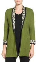 Ming Wang Women's Leopard Shawl Collar Knit Jacket