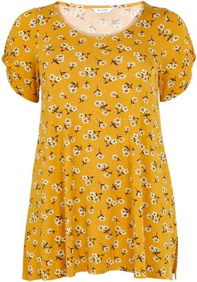 Evans Yellow Floral Print T-Shirt