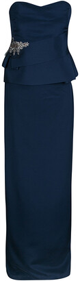 Marchesa Navy Blue Silk Embellished Strapless Peplum Gown L