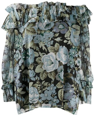 P.A.R.O.S.H. Floral Print Off-Shoulder Blouse