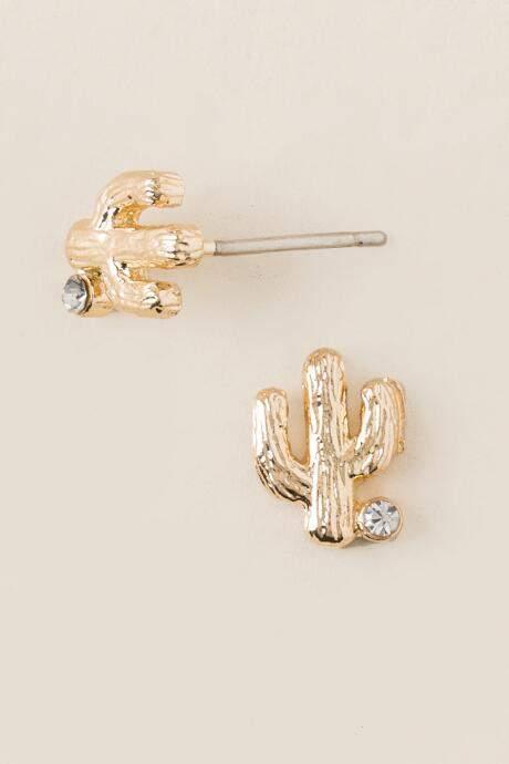 francesca's Cactus Brushed Gold Stud Earrings - Gold