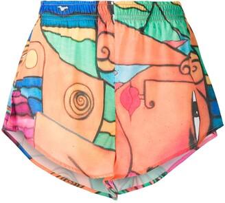 Esteban Cortazar Beach-Print Mini Shorts
