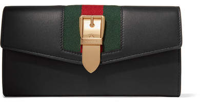 Gucci Sylvie Canvas-trimmed Leather Continental Wallet - Black