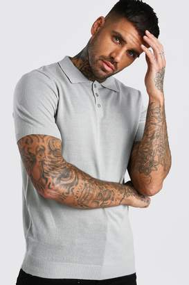boohoo Regular Fit Short Sleeved Knitted Polo