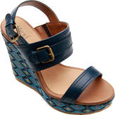 Flexi Women's Angelina Platform Wedge Sandal - Blue Leather Sandals