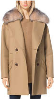 Michael Kors Fur-Trimmed Wool-Melton Coat