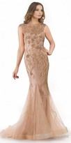 Morrell Maxie Sleeveless Illusion Back Beaded Evening Dress