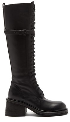 Ann Demeulemeester Knee-high Leather Lace-up Boots - Black