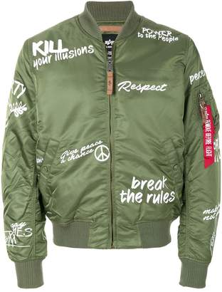 Alpha Industries printed bomber jacket