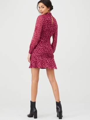 Whistles Falling Leaves Mini Dress - Burgundy