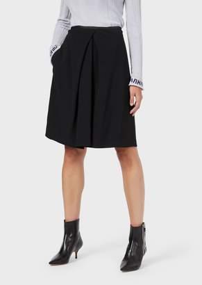 Emporio Armani Cady-Crepe Skirt With Ornamental Draping