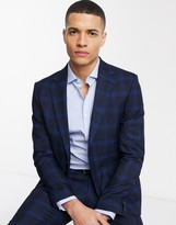 Moss Bros Moss London suit jacket in ink blue check