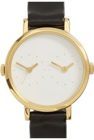 Steven Alan 'Time Traveler' Round Leather Strap Watch, 30mm