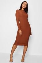 boohoo Ribbed High Neck Long Sleeved Midi Dress