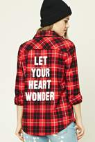 Forever 21 Graphic Plaid Flannel Shirt