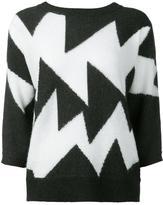 Leo & Sage geometric intarsia jumper