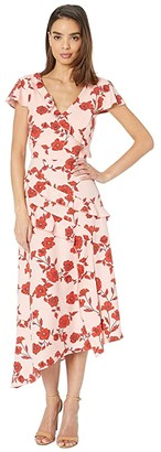 Adrianna Papell Gauzy Crepe Floral Fit and Flare Dress Living Blooms Ruffle (Pink/Red Multi) Women's Dress