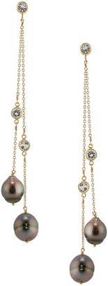 Amy Holton Designs Double Strand Tahitian Pearl & White Topaz Long Earring