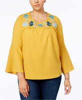 NY Collection Plus Size Embroidered Bell-Sleeve Top