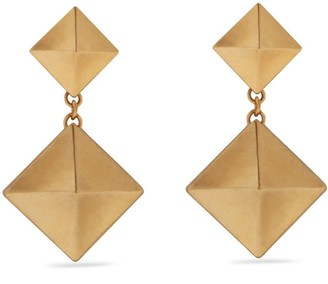 Mulberry Pyramid Pendant Earring Gold Brass