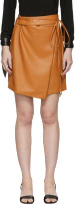 Nanushka Orange Vegan Leather Sekoya Miniskirt