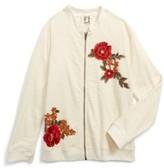 Ppla Girl's Floral Applique Knit Jacket