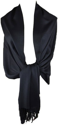 HAAS TRADING High Quality Pashmina Hijab Scarf Silk Satin Sateen Stole Neck Wrap Bride Shawls (Black)