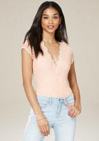 Bebe Lace Cap Sleeve Bodysuit