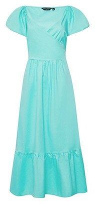 Dorothy Perkins Womens Mint Green Poplin Cotton Wrap Dress, Green