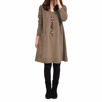 Romacci Autumn Winter Women Dress Plus Size Loose Tunic Long Dress Long Sleeves Pockets Solid V Neck Swing Dress for Ladies Coffee