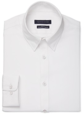 Tommy Hilfiger Men's Fitted Non-Iron Performance Stretch Solid No-Tuck Dress Shirt