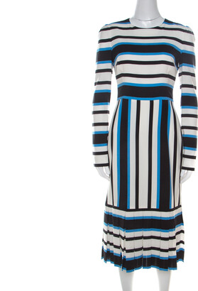 Dolce & Gabbana Multicolor Striped Silk Pleat-Detail Midi Sheath Dress S