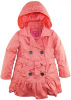Pink Platinum Big Girls' All Over Spray Hooded Trench Spring Jacket with Belt