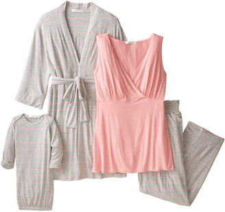Everly Grey Women's Maternity Roxanne Nursing Pajama Pant Set with Baby Gown