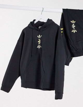 adidas metallic trefoil hoody in black and gold