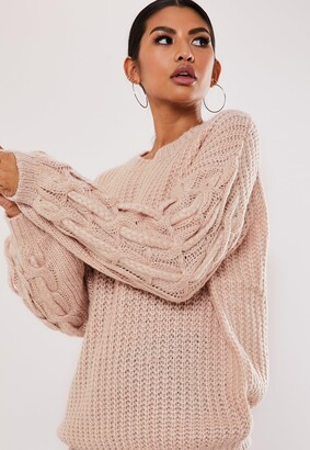 Missguided Pink Plait Cable Knit Sleeve Jumper