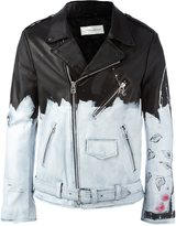 Faith Connexion painted biker jacket - men - Calf Leather/Polyester/Acetate - S