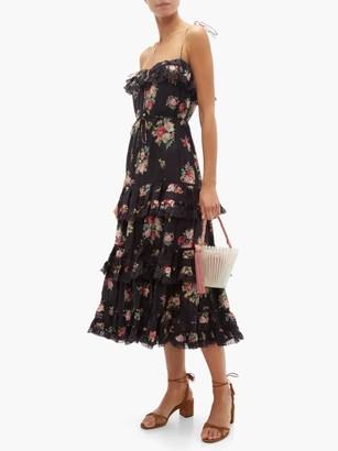 Zimmermann Honour Tiered Floral-print Silk-habutai Midi Dress - Womens - Black