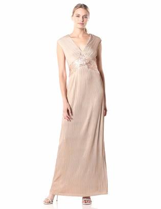 Tadashi Shoji Women's C/S Metallic Pintuck Gown W/Sequin Detail