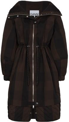 Ganni Check-Pattern Zip-Up Parka Coat