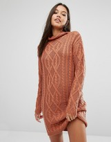 Missguided Chunky Cable Knit Mini Dress