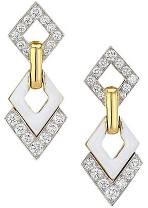 David Webb Motif 18K Yellow Gold, Platinum, White Enamel & Double Diamond Interlocking Earrings
