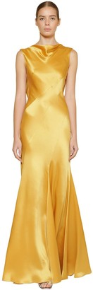 Alberta Ferretti Long Silk Satin Dress