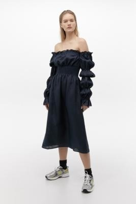 Sleeper Puff Sleeve Linen Midi Dress - Blue XS at Urban Outfitters