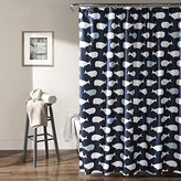 "Lush Decor Whale Shower Curtain, 72"" x 72"", Navy"