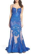 Mac Duggal Women's Illusion Mermaid Gown